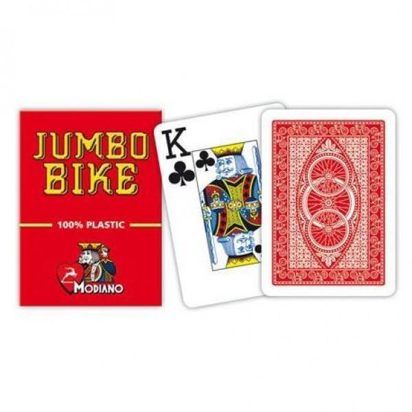 Modiano BIKE TROPHY 2 rohy 100% plastové karty - Červené  0_515253
