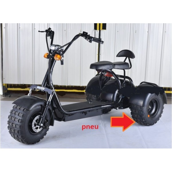 Elektrická tříkolka terénní kola citycoco 1000w  vyndavací baterie 40 Ah dojezd 100 km černé barva